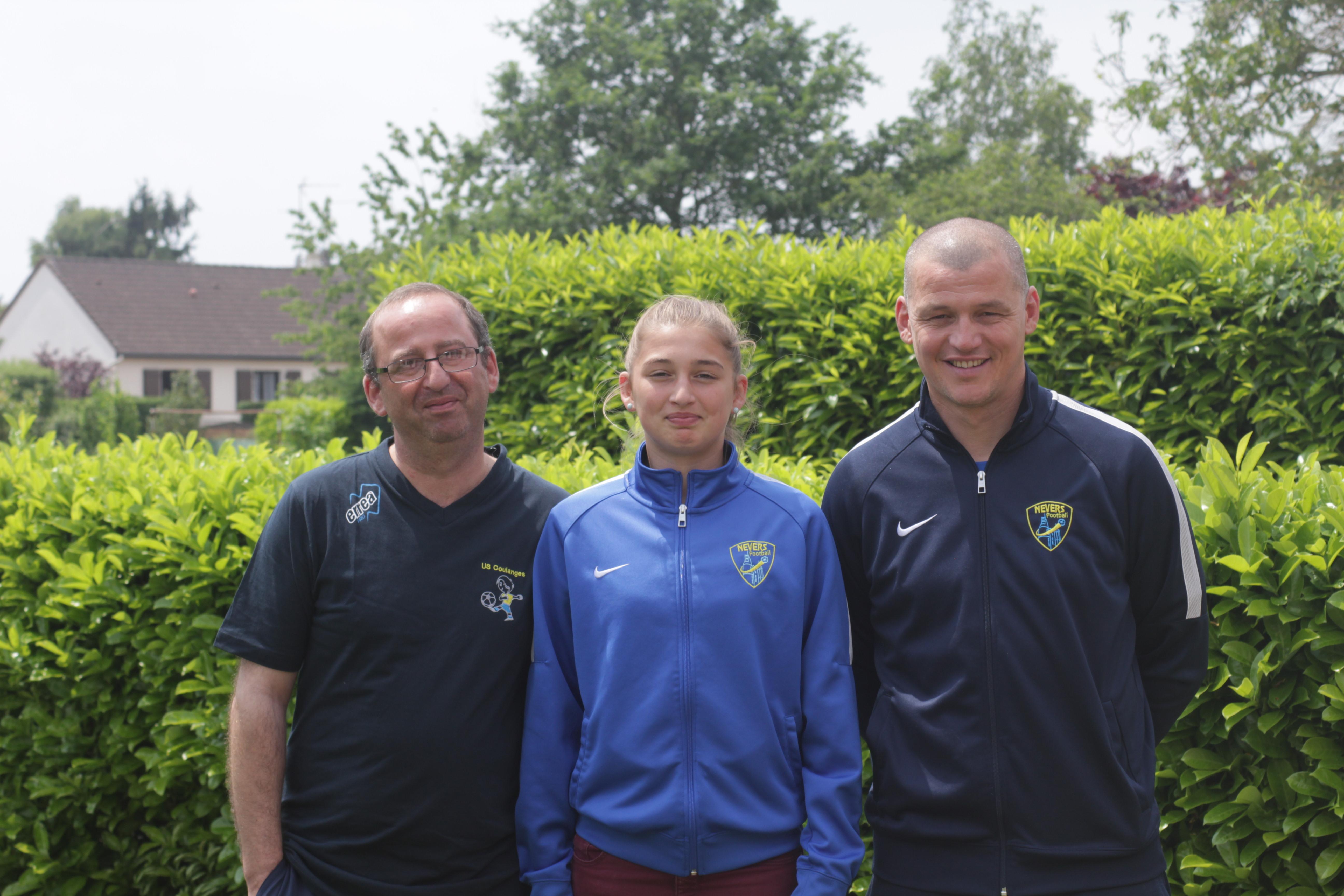 Alice Pinguet avec son père et son coach
